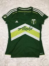 ADIDAS Portland Timbers Alaska 2015 Climacool MLS Soccer Green Jersey Women Sz L