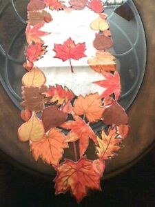 """Thanksgiving Fall Decor Table Runner Autumn Leaves Applique Embroidered 67""""x 13"""""""