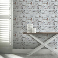 3D Effect Rustic Brick Wall Wallpaper Whitewash Arthouse VIP 671100 SALE