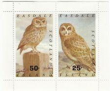 Easdale Island, Scotland; Owls Sheetlet, MNH, 25p & 50p Values