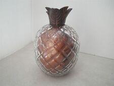 Murano Glass Pineapple w/ BRASS TONE STEM Shimmery Faux Fruit Home Decor