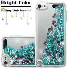 For iPod Touch 5th & 6th Generation GREEN Glitter Hearts Liquid Waterfall Case