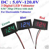 DC5.0V-120.0V 3 Digital LED Volt Voltage Meter Voltmeter 36V 48V 72V Car Battery