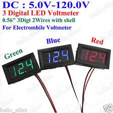 LED Digital DC Voltage Meter Voltmeter 2-wires 12V 24V 36V 48V 72V Car Battery