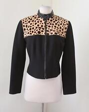 Alberto Makali Black Zip Front Goat Hair Cheetah Moto Jacket Size 4 Croppedd