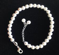 Sterling Silver p Beads Baby Bracelets kids adjustable dangle charm Free giftbag