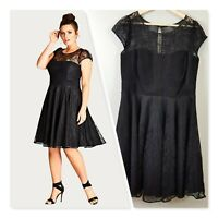 [ CITY CHIC ] Womens Black Lace Audrey Fit & Flare Dress | XS or AU 14 / US 10