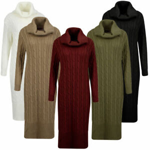 New Ladies Women Knitted Cowl High Neck Polo Long Sleeves Midi Maxi Dress Jumper