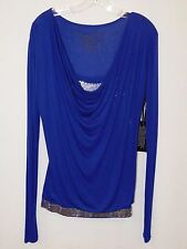Women's Cowgirl Tuff Blue Long Sleeve Blouse w/Sequin Tank, Style H00318