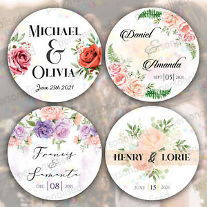 Personalised Round Floral Wedding Engagement Favour Thank you Glossy Stickers