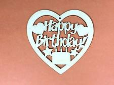 WOODEN HAPPY BIRTHDAY HEART  11cm (x1) wood shapes craft blank shape