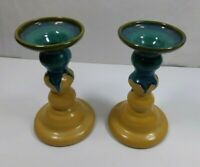 Set of 2 Hutton House Pottery Drip Glaze Candle StickHolders Teal & Tan 7.25 ""