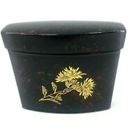 "Chinese Black Red Gold Flower Lidded Trinket Cigarette Box 3.5"" x 3.5"""