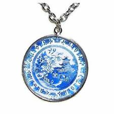BLUE WILLOW PLATE PATTERN NECKLACE Silver Plated Glass Pendant