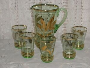 VINTAGE Retro GREEN GLASS TALL JUG & 5 TUMBLERS