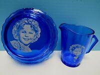 VINTAGE SHIRLEY TEMPLE COBALT BLUE HAZEL ATLAS GLASS CEREAL BOWL & PITCHER