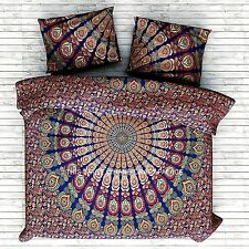 Indian Psychedelic Peacock Mandala Art Bedding Duvet Quilt Cover Twin Duvet Set