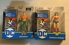 "Spin Master Dc Heroes Unite Wonder Woman & Aquaman Short Hair 4"" figure Lot New"