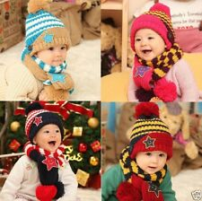 Boys Girls Kids Winter Warm Hats Scarf and Cap  Gift Set Five-Pointed Star