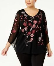 Alfani Plus Size Womens Top Mesh Embroidered V Neck Lined Blouse Black 1X $85