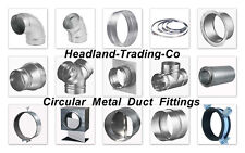 """6"""" 150mm dia CIRCULAR METAL DUCT FITTINGS, FLEXIBLE SPIRAL DUCTING EXTRACTOR FAN"""