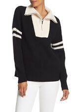 NWT $391 360 SWEATER wool CASHMERE blend Nichola Quarter Zip Black Sweater S