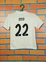 Isco Real Madrid Jersey 2018 2019 Youth 7-8 Boys Young White Shirt Adidas CG0554