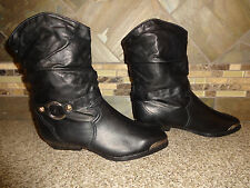 NEW Womens ZODIAC Sz 6.5M Slouch Black Leather Cowboy Boots Fancy Tips Anklets