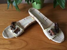Irregular Choice brown leather beige woven taffeta slip on mules UK 6 EU 39 NEW