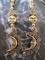 Golden Wicca Triple Charms Crescent Moon Goddess Handcrafted Artisan Earrings
