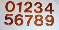 """Decorlux Solid Brass House Numbers 4"""" 0 1 2 3 4 5 6 7 8 9 POLISHED COPPER NEW"""