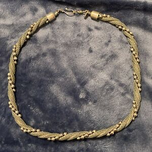 Sarah Cavender Metalworks Twisted Mesh And Ball Chain Silver Tone Necklace