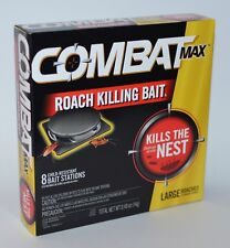 COMBAT MAX LARGE ROACH KILLING BAIT 8 STATIONS CHILD RESISTANT KILLER KILLS NEST