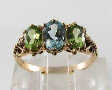 LOVELY 9CT GOLD BLUE TOPAZ PERIDOT 3 STONE VICTORIAN INS RING FREE RESIZ