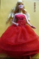 Barbie Cinderella doll long curly blonde hair with bendable knees red dress