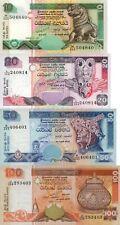 Sri Lanka 4 Note Set: 10, 20, 50,100 Rupees (2005.11.19) - p115d,p116d,p118c UNC