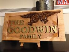 Personalized Eagle Carved Family Name Sign, Address Marker, Wood Carved Sign