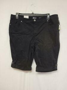 Style and Co Womens Skimmer Shorts Black Size 18W Mid Rise