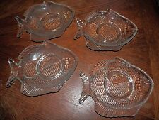 Set of 4 Vintage Clear Glass Serving/Appetizer Trays 6 x 8 in. Nice