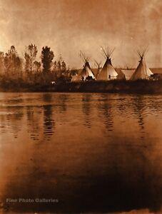 Vintage EDWARD CURTIS Crow Indian Little Big Horn Custer GOLDTONE Photo 11x14