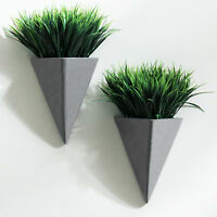 MyGift Set of 2 Wall Mounted Faux Grass in Pyramid Shaped Gray Cement Planters