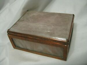 Chinese Carved Rose Quartz & Copper Lidded Box