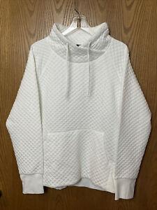 GREEN TEA Women's Sweatshirt  Quilted Cowl Neck Pocket  SZ  X-Large, white