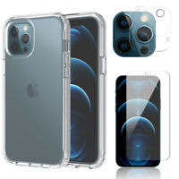 For iPhone 12/Pro Max/Mini 5G Clear Slim TPU Case Cover,Camera Screen Protector