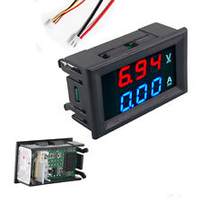 Preptec DC Voltímetro Amperímetro Digital 0-100V 10A Doble Pantalla Rojo Azul LED Calibre