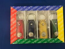 united colors of benetton 4 Pack Leather Keychain New Rare HTF In Box