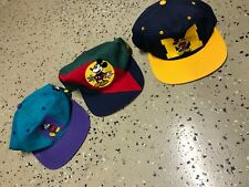 Vintage 90s Disney Mickey Mouse Michigan Blockhead Embroidered Snapback Hat Lot