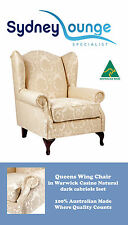 Brand New - AUS MADE Queen Wing Chair (Casino Natural) Golden Damask Sofa Lounge
