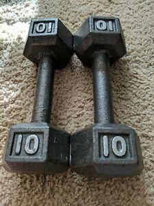 Hex Dumbbells 10 LBS Pair Cast Iron