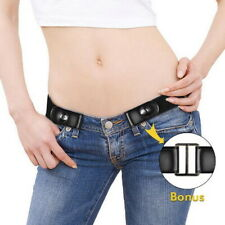 Genuine Leather Buckle-free Elastic Invisible Belt for Jeans No Bulge No Hassle